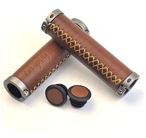 Let-going Bike Bicycle Vintage Retro Nature Leather Handmade Handlebar Grips Length 130mm, inner 22mm