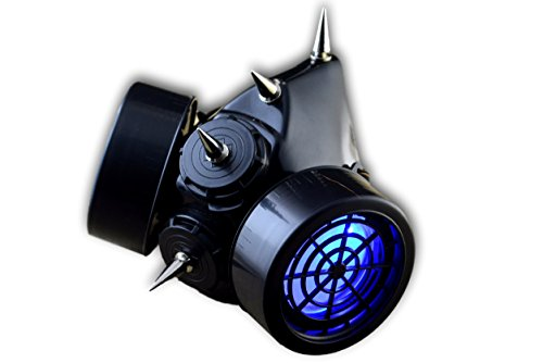 TrYptiX Men's LED Black Framed Spiked Steampunk Gas Mask (One Size, Blue) ()