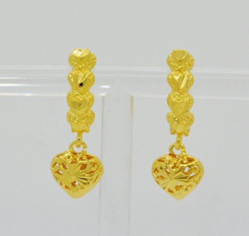 Bridal 22k Yellow Gold Plated Gp Women Hoop Earrings Lever Back Jewelry Heart Ethnic Thai 12 mm (22k Earrings)
