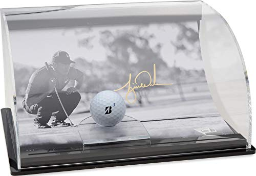 Tiger Woods Autographed Lining It Up Photograph with Curved Golf Ball Display - Limited Edition of 50 - Upper Deck - Fanatics Authentic Certified