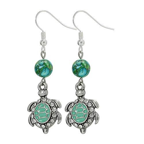Aqua Blue Rhinestone Sea Turtle Earrings, Handmade Silver Tone Jewelry, Womens Dangle Earring Set