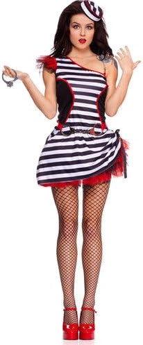 Disfraz de preso de rayas blancas y negras para mujer, vestido de ...