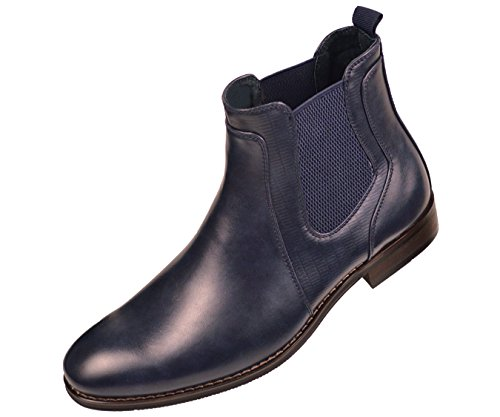 Amali Mens Navy Blue Smooth and Embossed Designed Double Gore Slip On Boots :Style Provo-002
