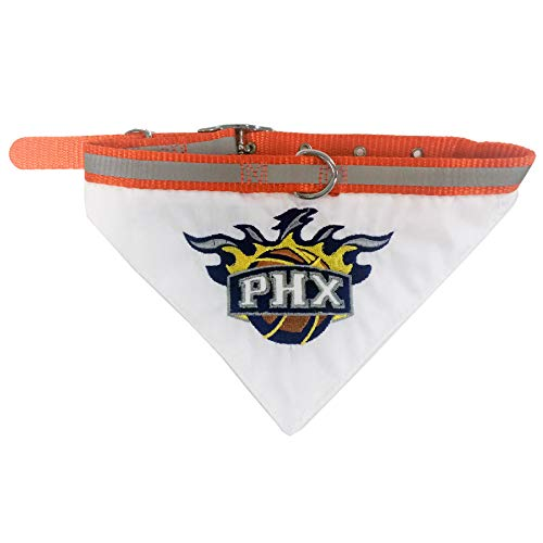 Nylon Bandana Collar Pet - Pets First NBA Bandana - Phoenix Suns Dog Bandana with Reflective & Adjustable Dog Collar, Medium