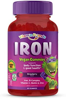 Vitamin Friends Iron Multivitamin for Kids - Organic & Vegan (60 Day Supply) Ferrous Fumarate with B-Complex, Vitamin C, Zinc, Biotin - Iron Gummies Support Kids Body Function Iron Levels & Anemia