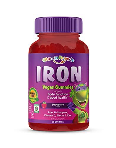 Vitamin Friends Iron Multivitamin for Kids - Organic & Vegan (60 Day Supply) Ferrous Fumarate with B-Complex, Vitamin C, Zinc, Biotin - Iron Gummies Support Kids Body Function Iron Levels & Anemia