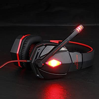 Gaming Headset Professional 3.5mm PC Headphones Wired Stereo Noise Cancelling Earphones Virtual Surround Sound Over-Ear Headband with Microphone Volume Control LED Lights for Computer Laptop