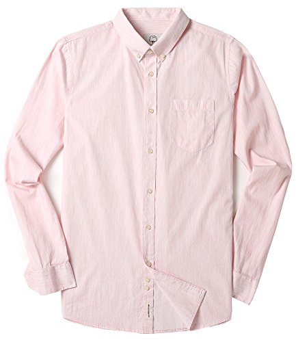 Men's Long Sleeve Oxford Regular Fit Button Down Casual Shirt Light Pink XX-Large