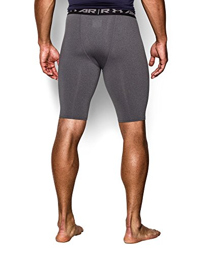 Under Armour Men's HeatGear Armour Compression Shorts – Long, Carbon Heather (090)/Black, Small by Under Armour (Image #1)