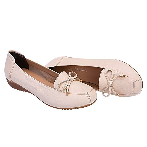 Slippers Breathable Genuine Women Hollowed Out Jamron Loafer Comfort Wedge Leather Moccasins Summer Beige Heel CvpH4