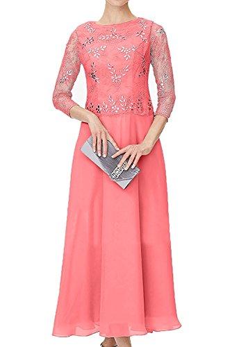 Spitze Herrlich Ballkleider mia Promkleider mit Blau Abendkleider Wassermelon Steine Abschlussballkleider Langarm La Braut Damen Festlichkleider YUEII