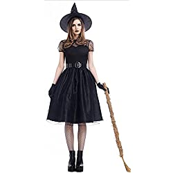 Mumentfienlis Womens Witch Costume Vintaged Halloween Witch Cosplay Costume Size M Black