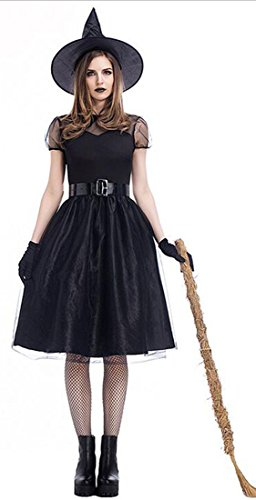 Witch Costumes - Mumentfienlis Womens Witch Costume Vintaged Halloween Witch Cosplay Costume Size XL Black