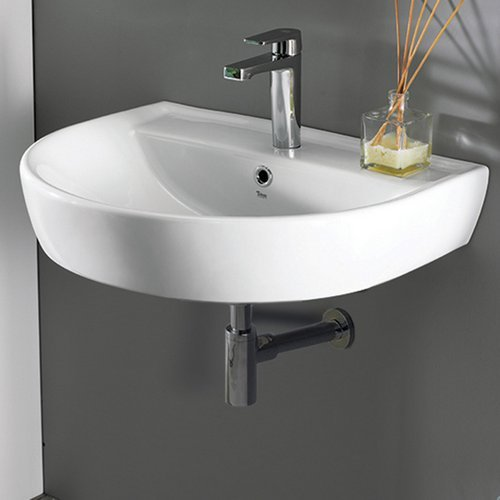 CeraStyle 007800-U-One Hole Bella Round Ceramic Wall Mounted Sink, ()