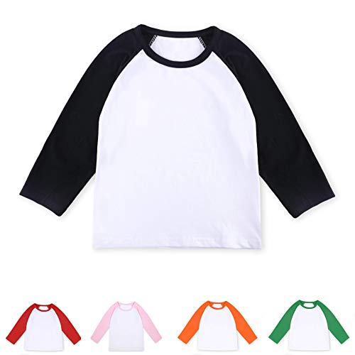 CloudCreator Toddler Baby Girls Boys Long Sleeve Shirts Raglan Shirt Baseball Tee Cotton T-Shirt (Infant Baseball Shirt)