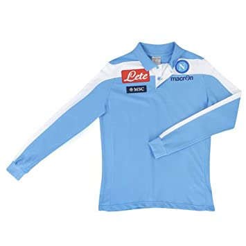 Macron Polo SS Fútbol Napoli M/L Azul/Blanca Prod.Oficial Original ...