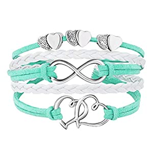 Best Epic Trends 41IyQCcg2VL._SS300_ Hithop Leather Wrap Bracelets Girls Double Hearts Infinity Rope Wristband Bracelets Gifts (Green)