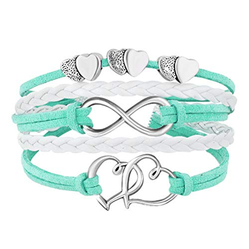 CLY Jewelry Infinity Love Hearts Handmade Leather Rope Braided Bracelet Wristband Valentine Girlfriend