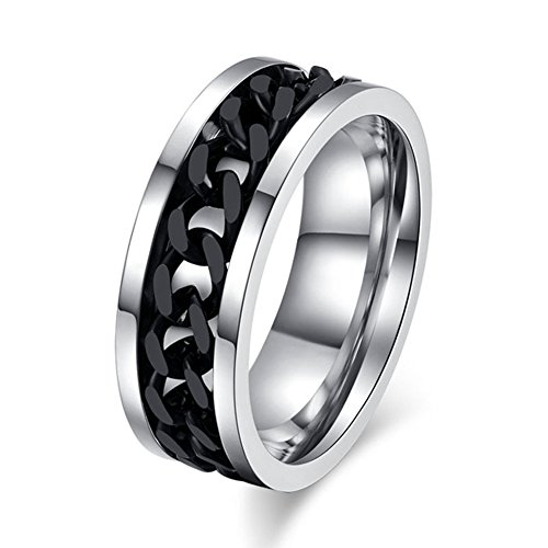(Topick Men's Fashion Black Stainless Steel Wide 8mm Spinner Chain Shaped Ring (11.5))