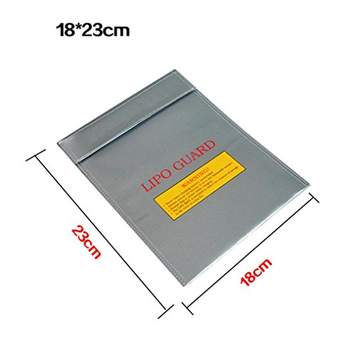 Gbell Cool Li-Po Battery Fireproof Storage Case Safety Cover, Lithium Battery Guard Safe Bag 1823CM (Silver)