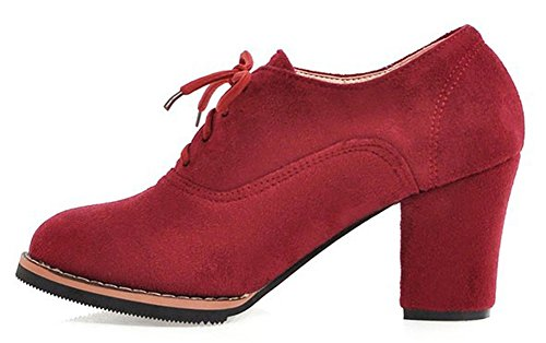 Easemax Women's Elegant Lace Up Mid Chunky Heel Ankle Boots Red g6C4TY