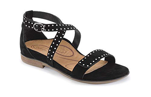 Aetrex Hailey Womens Leather Adjustable Orthotic Sandals - Black - 41 (US - Aetrex Shoes Black