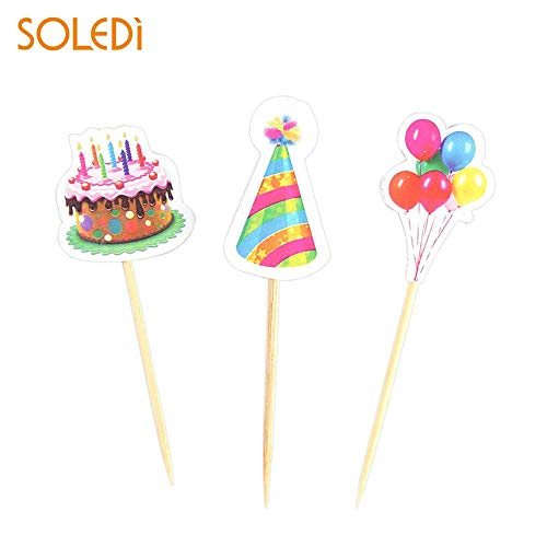1 piece 5pcs Cupcake Cake Topper Cake Happy Birthday Cake Flags Double Stick For Family Birthday Party Baking Decoration Supplies