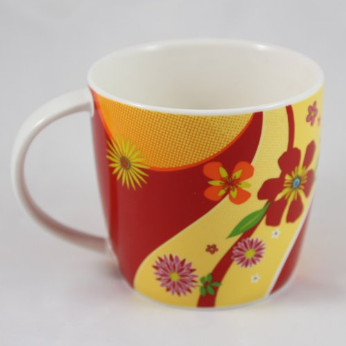 Starbucks Print (Starbucks Coffee 2007 Red & Yellow Flower Print Coffee Mug 15 fl oz)