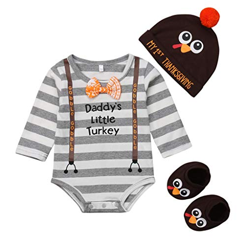 Baby Boy Girl Thanksgiving Outfit Long Sleeve Letter Romper + Hat + Turkey Crib Shoes 3pcs Clothes Set (0-6 Months, Stripe)