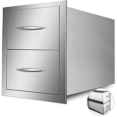 Mophorn Outdoor Kitchen Drawer Stainless Steel BBQ Storage with Chrome Handle Flush Mount Sliver 15 x 22 x 20 inch Double Access Drawer