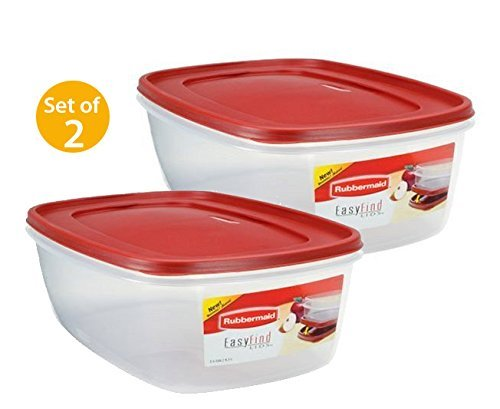 Rubbermaid Plastic Easy Find Lid Food Storage Container, BPA-Free, 40 Cup / 2.5 Gallon, Pack of 2