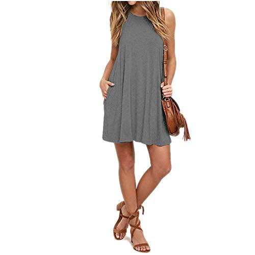 SHETOP Womens Casual Flowy Swing Holiday T-Shirt Dress, Lady Elegant Vintage Solid Plain Sleeveless Pockets Pleated Loose Dresses for Women O Neck A Line Dress for Teen -