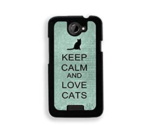 Keep Calm And Love Cats Aqua - Protective Designer WHITE Case - Fits Apple iPhone 4 / 4S / 4G