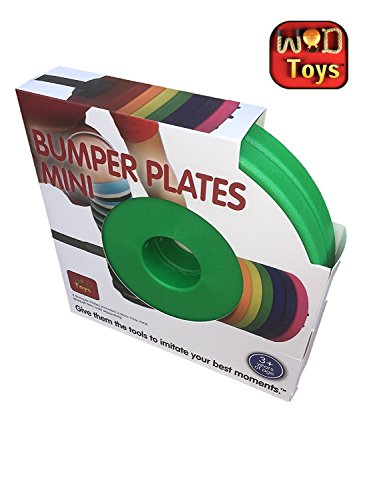 WOD Toys Colored Bumper Plates Mini - Add On Bumper Plates for The Barbell Mini - Safe, Durable Fitness Toys for Kids (Green)