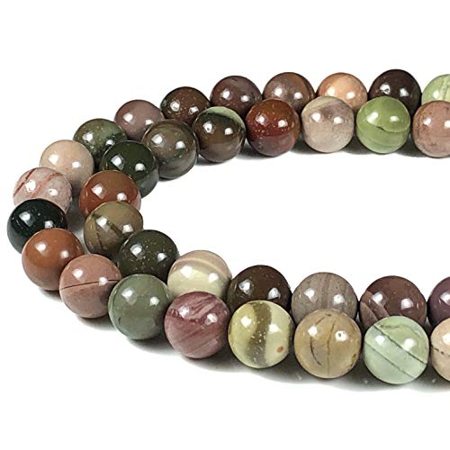 Imperial Jasper Beads - [ABCgems] Rare Mexican Royal Imperial Jasper AKA Ojitos Jasper (Exquisite Matrix) 8mm Smooth Round Beads for Beading & Jewelry Making