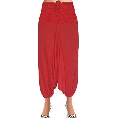 Frente Gathered- Volver Smocked cintura medias de algodón Afghani Harem Pantalón