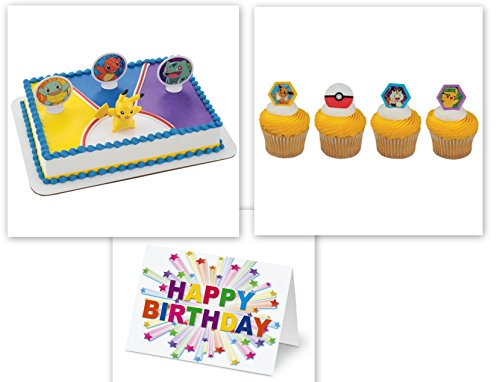 Pokemon Ligth Up Cake Topper PLUS 12 Matching Cupcake Rings Plus Birthday -