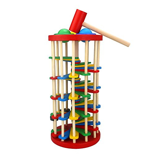 LIKIQ Wooden Pounding Hammer Toy for Toddlers,Pound and Roll Wooden ()