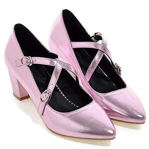 Tacco Moda Medio Criss Strap Pumps Zanpa rosa Donne Block 1 Cross Scarpe XIwR5nfq