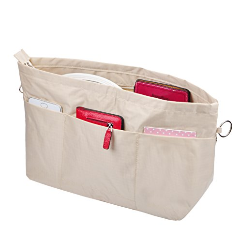 - Vercord Handbag Purse Tote Pocketbook Organizer Insert Zipper Clousure 11 Pockets, Beige L