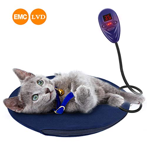 Jhua Cat Heating Pad, Electric Pet Heating Pad for Dogs Cats IP67 Waterproof Indoor Warming Mat with Chew Resistant Steel Cord 7 Heat Levels Adjustable Pet Bed Warmer Washable (OD 12inch, Blue)