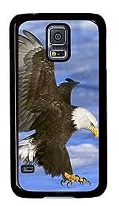 Diy Fashion Case for Samsung Galaxy S5,Black Plastic Case Shell for Samsung Galaxy S5 i9600 with Bald Eagle In Flight Alaska