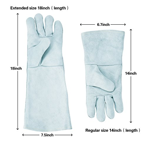 Colyn Heat & Fire Resistant Welding & BBQ Gloves, Premium Cowhide Leather Mitts For ARC TIG MIG Welders BBQ Oven Grilling Gardening Fireplace Stove Pot Holder, 14 in & 18 in, Gray (18 Inch (length)) by Colyn (Image #3)