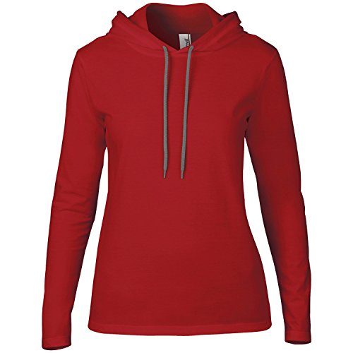 Anvil Anvil Woman CRS Fitted Fashion LS Hooded Tee-Camiseta Mujer Rojo/ Gris oscuro