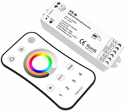 5 Channel RGB+CCT LED RF Controller 5CH 3A PWM Constant Voltage 12-24VDC