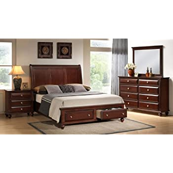 Roundhill Furniture Concord wood Bedroom Set with Platform Bed  Dresser   Mirror  Night Stand  Queen  Cherry. Amazon com  Roundhill Furniture Concord wood Bedroom Set with