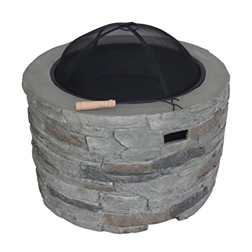 Cheap Great Deal Furniture Dione Outdoor 32″ Wood Burning Light-Weight Concrete Round Fire Pit, Grey