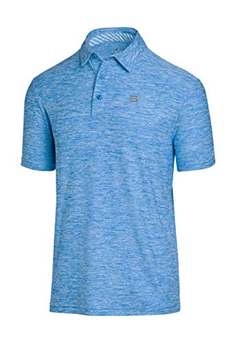 Three Sixty Six Golf Shirts for Men - Dry Fit Short-Sleeve Polo, Athletic Casual Collared T-Shirt Cool Blue