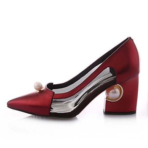 free shipping Nine Seven Genuine Leather Women's Pointed Toe Chunky Heel Handmade Dress Comfort Pump