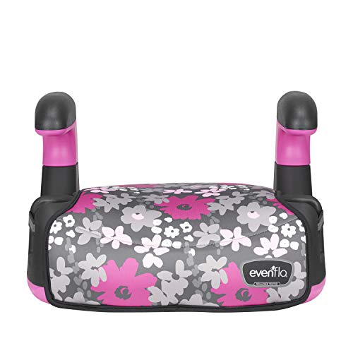Evenflo Big Kid AMP No Back Booster Car Seat, Pink Flowers